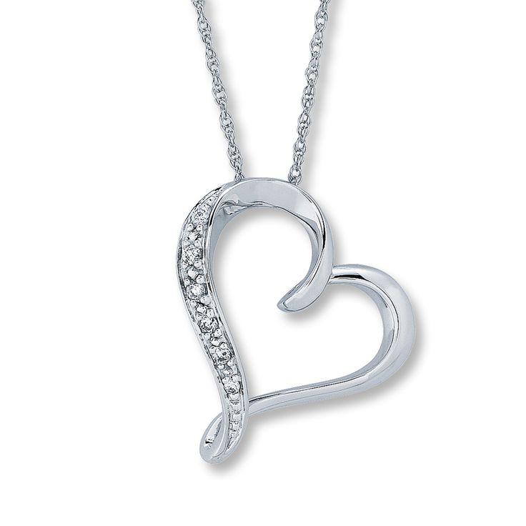 White Diamond Heart Necklace