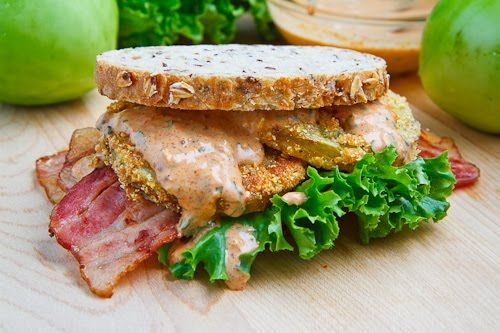 OMG Bacon, Lettuce & Fried Green Tomato Sandwich with remoulade sauce ..for an added indulgence try slices of avocado
