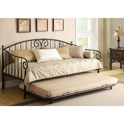 Metal daybed with trundle at big lots biglots pinterest for Bedroom sets with mattress included