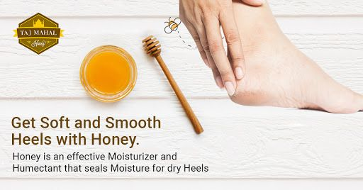 Honey, a natural moisturizer for heels.  Heels become dry when skin on and around heels become thickened. These cracks can be small to major because of anything. #Honey treats naturally because it is a humectant that seals #moisture to make it smooth and soft.   It can be applied on dry skin with orange juice and milk. Milk is rich in vitamin A while orange juice has vitamin C . Vitamin A is essential for repair while vitamin C helps in retaining flexibility.