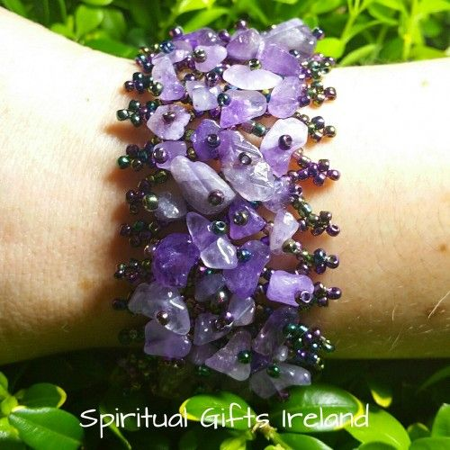 Amethyst Chip Bracelet Visit our store at www.spiritualgiftsireland.com  Follow Spiritual Gifts Ireland on www.facebook.com/spiritualgiftsireland www.instagram.com/spiritualgiftsireland www.etsy.com/shop/spiritualgiftireland	 We are also featured on Tumblr  Love purple.  Love Amethyst.  Amethyst is the stone of spirituality and peace of mind.  Its striking purple colour evokes feelings of calmness and contentment, reducing stress and restoring you to emotional stability and balance. When…