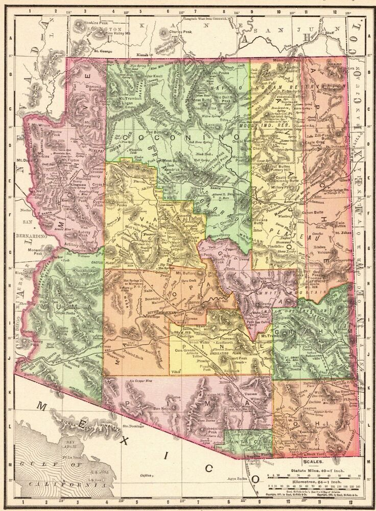 1900 Antique ARIZONA MAP Vintage State Map of Arizona Gallery Wall ...