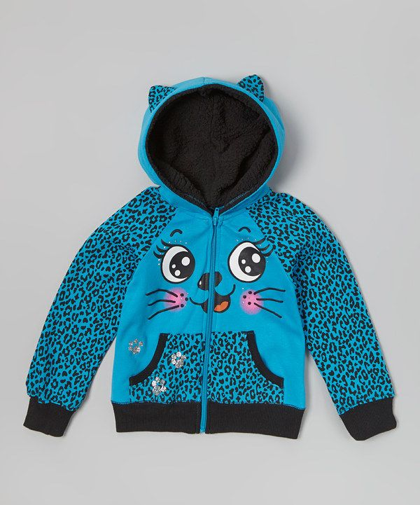 Another great find on #zulily! Self Esteem Blue Leopard Kitty Zip-Up Hoodie - Girls by Self Esteem #zulilyfinds