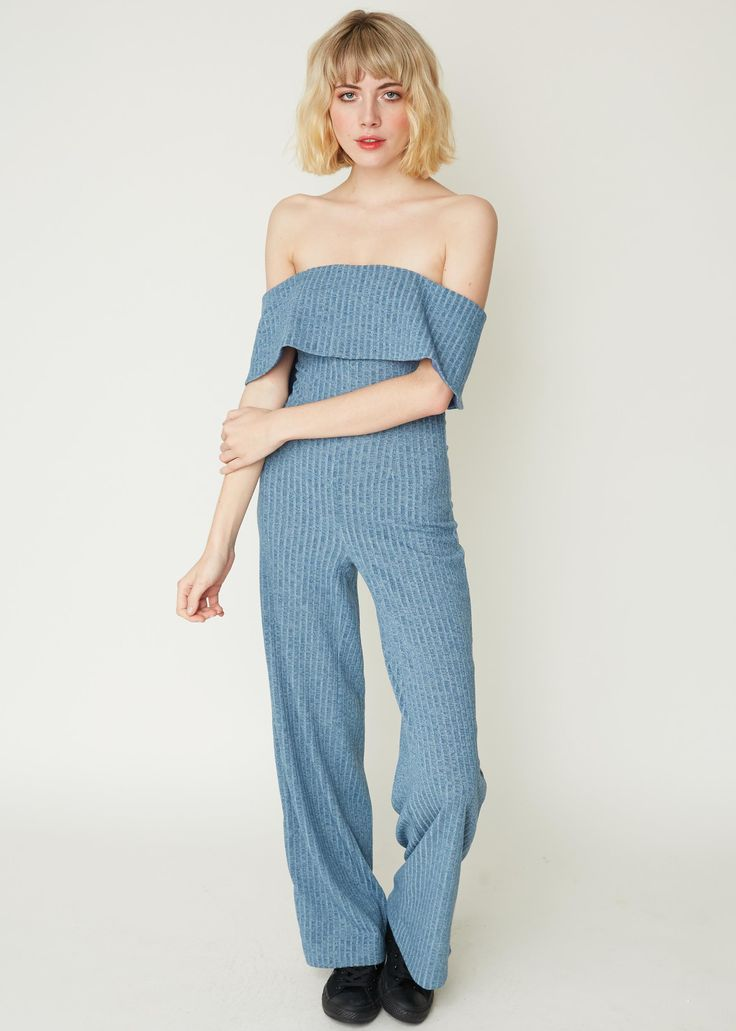 Bandeau Jumpsuit in Dusty Blue Knit