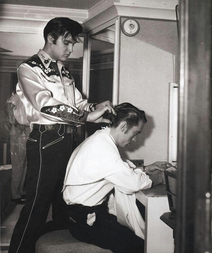 """""""Loving You"""" Elvis' cousin, Gene Smith: """"I have to admit that I was disappointed to discover that the barber shop scene in 'Loving you', wherin Deke Rivers gives me a haircut, had been cut from the film, and as I sat there and watched the movie and listened to Dolores Hart as Susan Jessup sing 'Detour' I reflected on the detours, wrong-turns, deadends and alternate routes on the roadmap of Elvis' life..""""  
