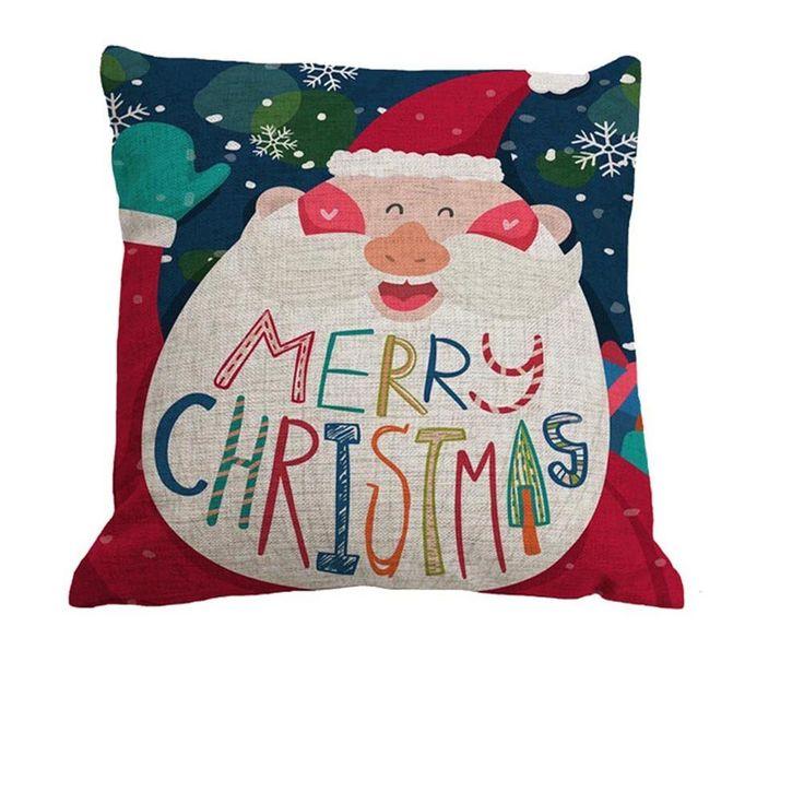 Nunubee Square Christmas Cotton Pillowcase Throw Cushion Home Decor Soft Cushion Cover Pattern B: Amazon