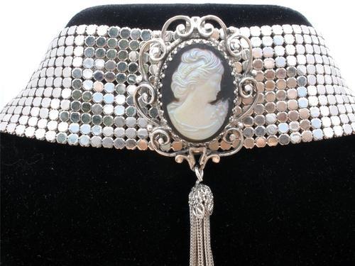 Whiting Davis Mesh Cameo Necklace Wide Choker Glass Black Cameo Tassel Signed | eBay