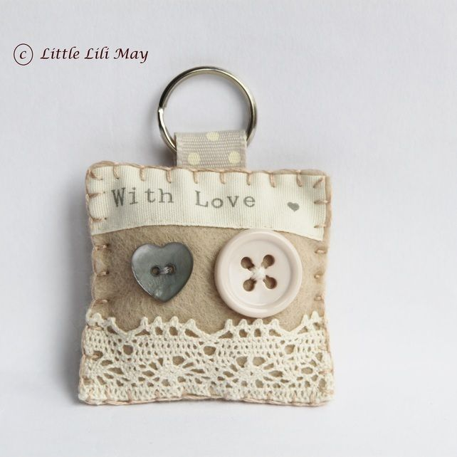 """Vintage With Lace Keyring - Made By Little Lili May - Listed On Feb 28, 2012 On https://Folksy.com - Sewn w/wool blended felt, embellished w/""""with love"""" ribbon, little buttons, cream lace ribbon, a split ring keyring attached to beige spotty grograin ribbon. Lightly padded w/polyester filling. - Item no longer available.    (02.12.15)"""
