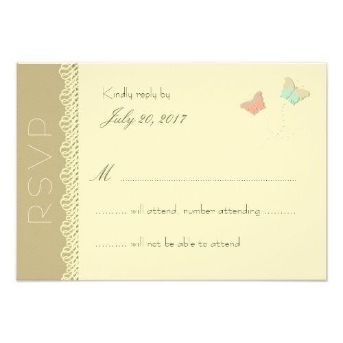 Butterfly RSVP Wedding Cards Metamorphosis Summer Wedding Reply Card