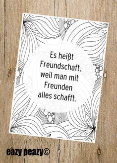 Postkarte für beste Freunde, motivierender Spruch, liebevoller Spruch / postcard for best friends, friendship for a lifetime, paper card, lovely saying made by eazy-peazy via DaWanda.com