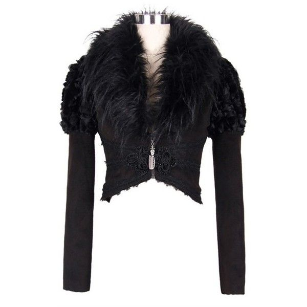 Raven Cropped Gothic Jacket by Devil Fashion ($140) ❤ liked on Polyvore featuring outerwear, jackets, black jacket, button jacket, goth jacket, faux fur collar jacket and gothic jacket