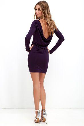 Right Back Atcha' Purple Long Sleeve Dress at Lulus.com!