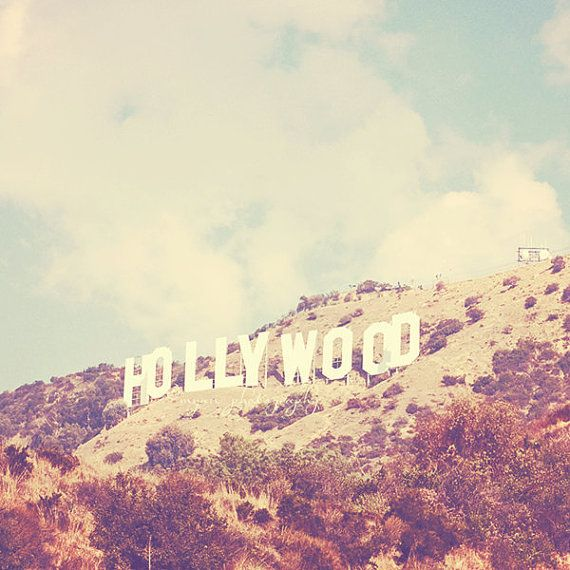 Hollywood photography, Sign, Los Angeles famous hill landmark celebrities stars travel vintage inspired retro blue, Oscars 12x12 on Etsy, $65.00