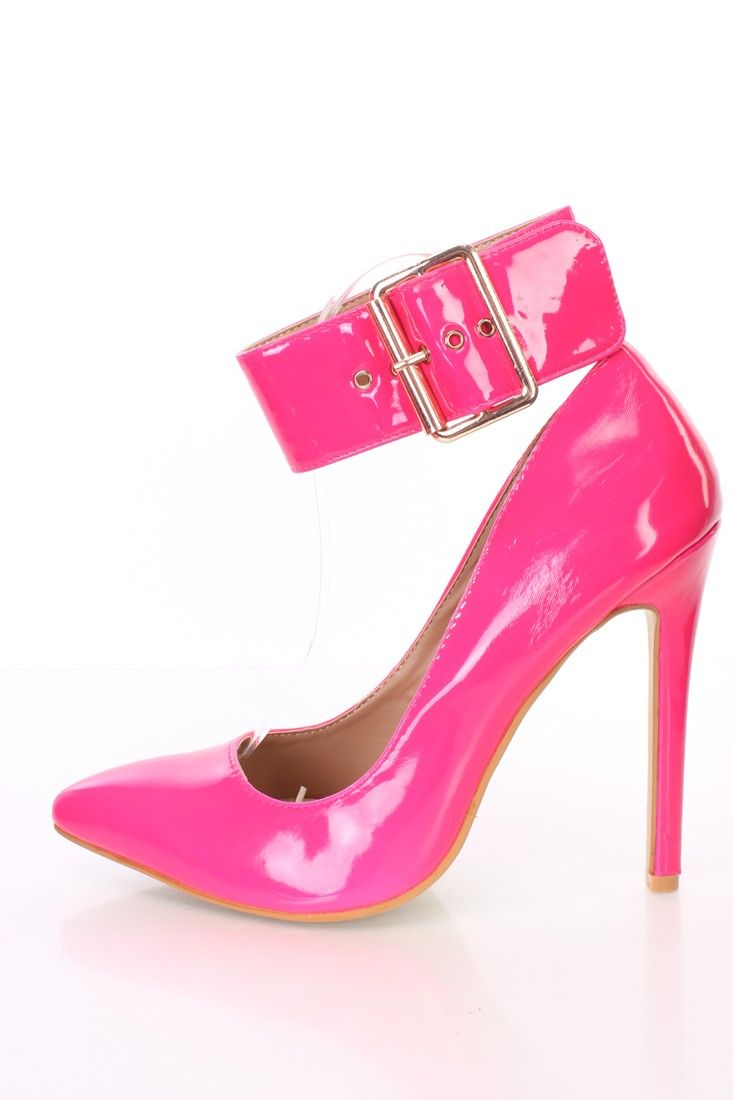 903186a5849c Buy Pink Pointed Toe Ankle Strap Single Sole Heels Patent with cheap price  and high quality