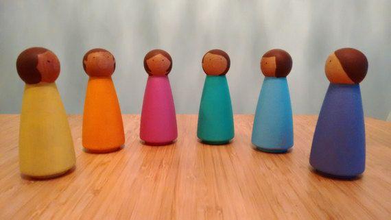 Regenboog Peg Dolls - SET van 6 LARGE, Peg Doll, Peg poppen, Peg People, houten Peg poppen, BABYSPEELGOED, houten poppen, Montessori, peuter cadeau