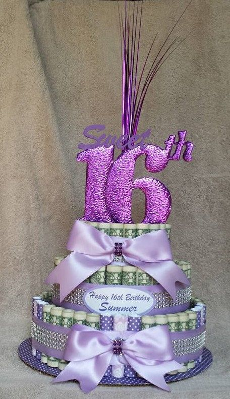 """MONEY CAKE, """"Sweet 16th Birthday"""" - Unique and Fun Way to Give A Sweet Treat You Don't Eat by creativecreationsmc. Explore more products on http://creativecreationsmc.etsy.com"""