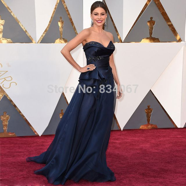 88th Oscars Sofia Vergara Sweetheart Red Carpet Gowns 2017 Navy Blue Unique Design Celebrity Dresses For