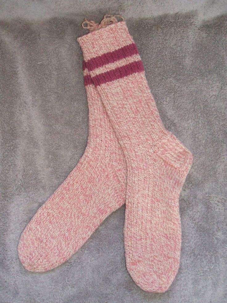 Hand Knit Adult Wool Socks - Pink White Rose by soxylady on Etsy