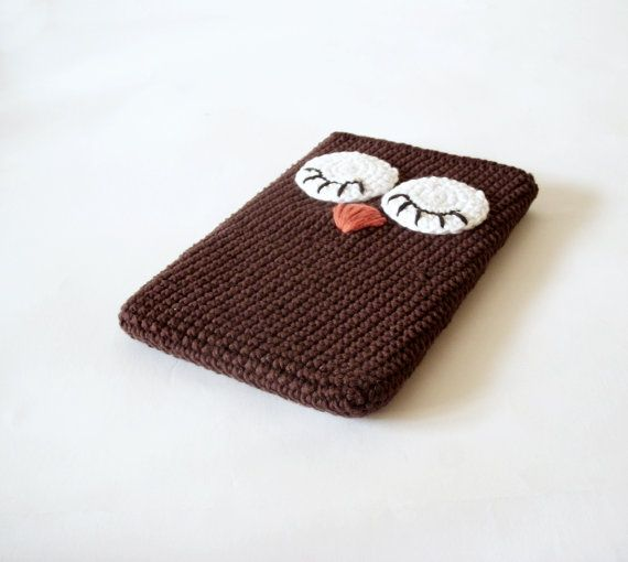 Owl Tablet iPad Case Crocheted Brown by ShopDreamsofCrochet, $32.00