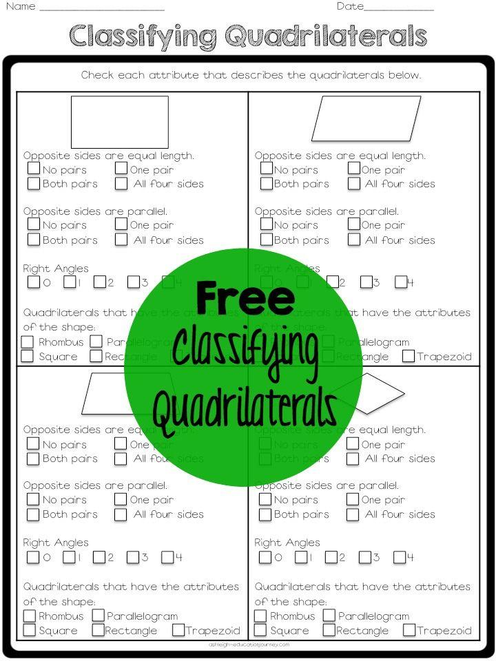 Free Classifying Quadrilaterals Worksheet