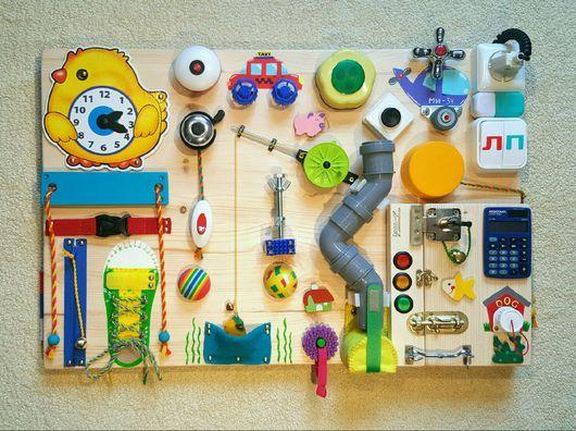 Развивающие игрушки ручной работы. Ярмарка Мастеров - ручная работа. Купить Бизиборд #34 (BusyBoard) Москва (средний - 40х60 см). Handmade.