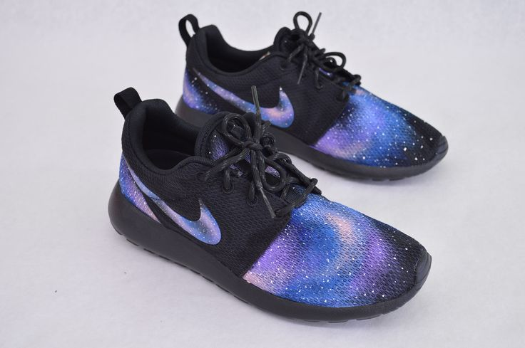 These custom hand-painted Nike Roshe Runs have galaxy pattern on the toe heel…