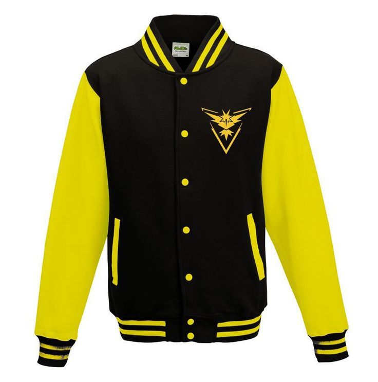 GoTshirts -Pokemon - Team Instinct Varsity Jacket - Black & Yellow - Dragons Den Fancy Dress Limited