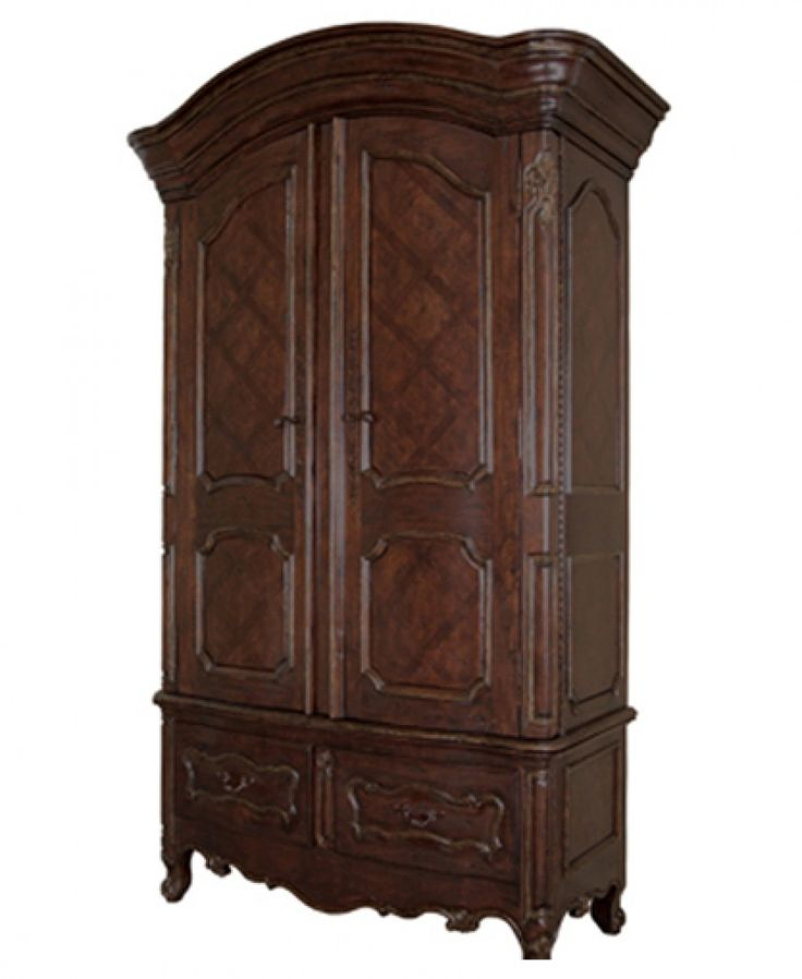 The Riviera Armoire In Kahlua Finish With Removable Shelves For TV Storage.