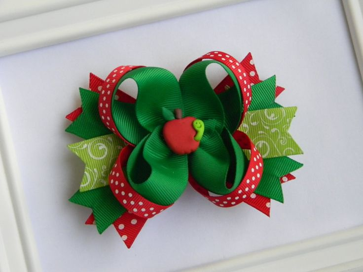 Apple Boutique Hair Bow by Avabowtiquee on Etsy, $8.99