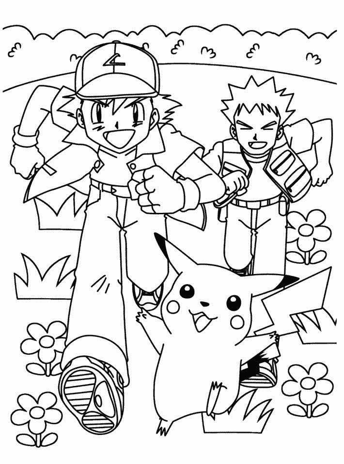 pokemon coloring pages pikachu and ash