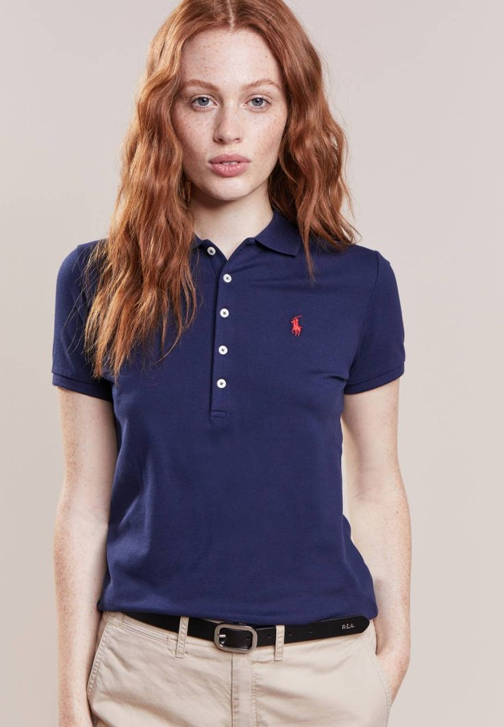 """Polo Ralph Lauren. JULIE SKINNY FIT - Polo shirt - newport navy. Fit:regular. Outer fabric material:97% cotton, 3% spandex. Our model's height:Our model is 69.5 """" tall and is wearing size S. Pattern:plain. Care instructions:machine wash at 30°C. Length:normal. S..."""