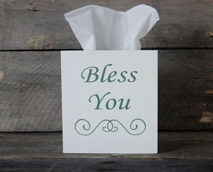 Wooden Tissue Box Cover ~ Bless You ~ White Green Lettering ~ Bathroom, Bedroom Decor ~ House Warming Gift ~ Baby Nursey ~ Office ~ Church by MyLilCraftyRoom on Etsy