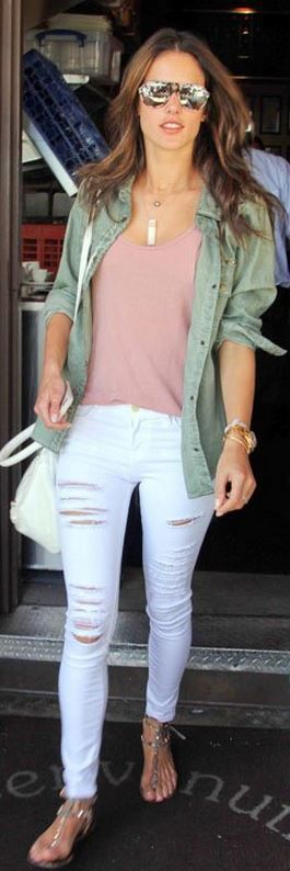 Green button down shirt, white ripped jeans