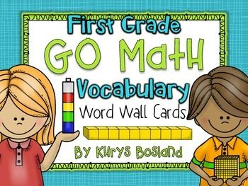 This colorful and vibrant set contains all 62 Go Math Vocabulary Words from the Go Math series (Common Core Edition) for FIRST GRADE. Please check out the preview to see what you will get! THESE ARE ALSO INCLUDED IN MY GO MATH FOCUS WALL FOR THE ENTIRE YEAR!