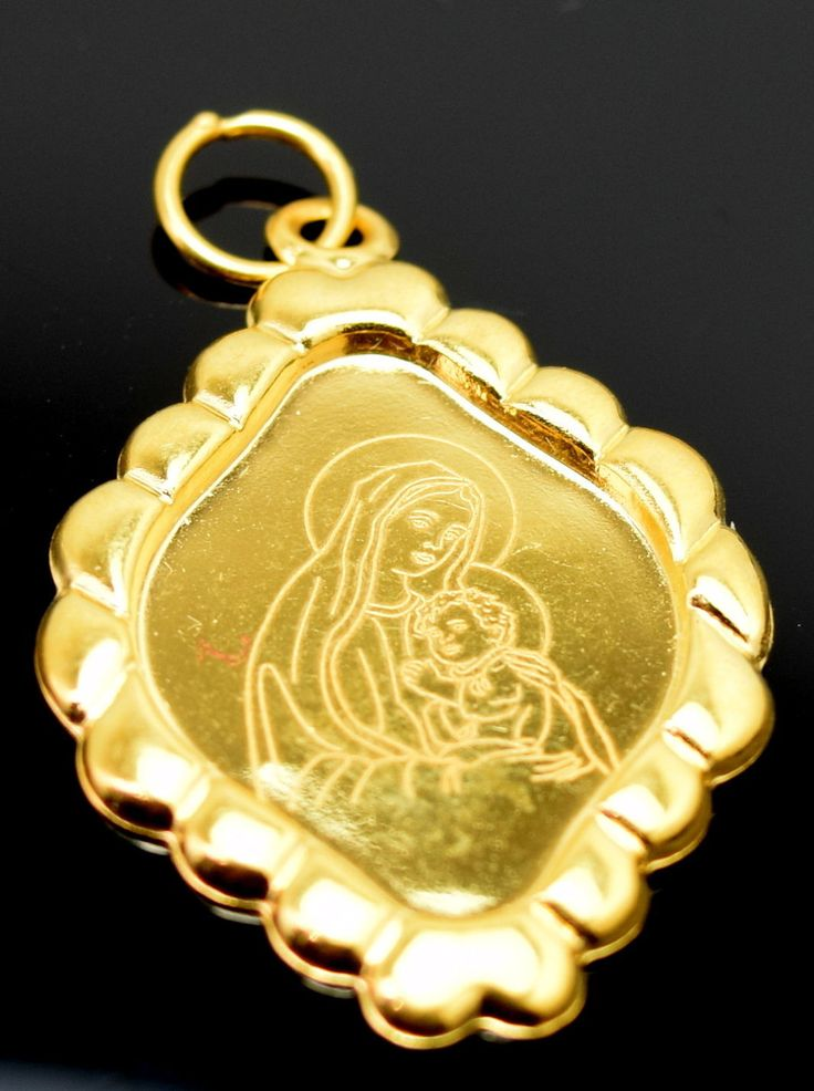 22k 22ct Solid Gold Mother MARY pendant charm locket Jesus Christ Christian p15