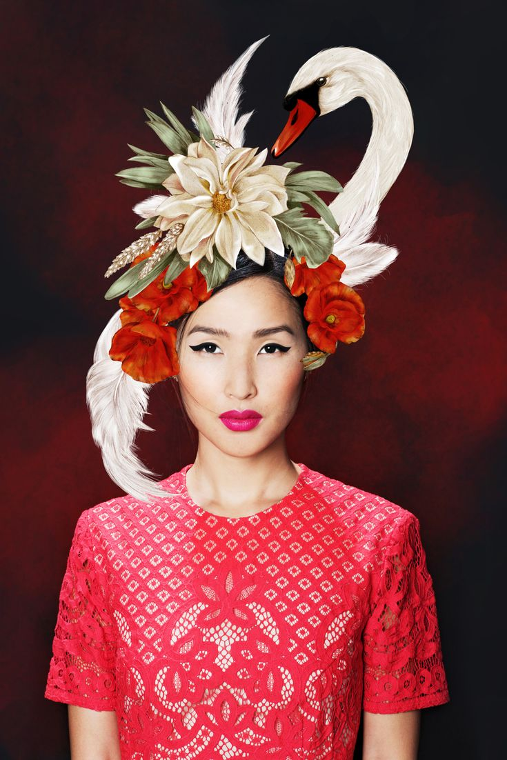 Nicole Warne Gary Pepper Girl Lavazza Coffee Melbourne Cup Peacock Hat - Kelly Thompson - Debut Art