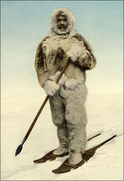Portrait of Robert Peary, 1910  American explorer Robert Peary's first North Pole expedition departed New York on 3 July 1898 aboard the Windward. Peary hoped to dock at Ellesmere Island, west of Greenland, and then cross the remaining 430 miles to the pole by dog team.    From Robert Peary, The North Pole (London: Hodder and Stoughton, 1910) viii.