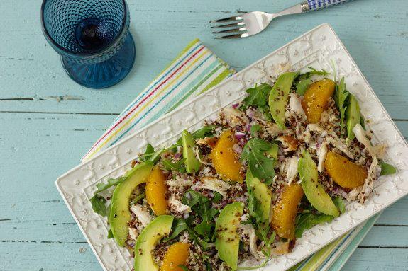 Cinco Quartos de Laranja: Salada de quinoa com frango assado e vinagrete de maçã à antiga