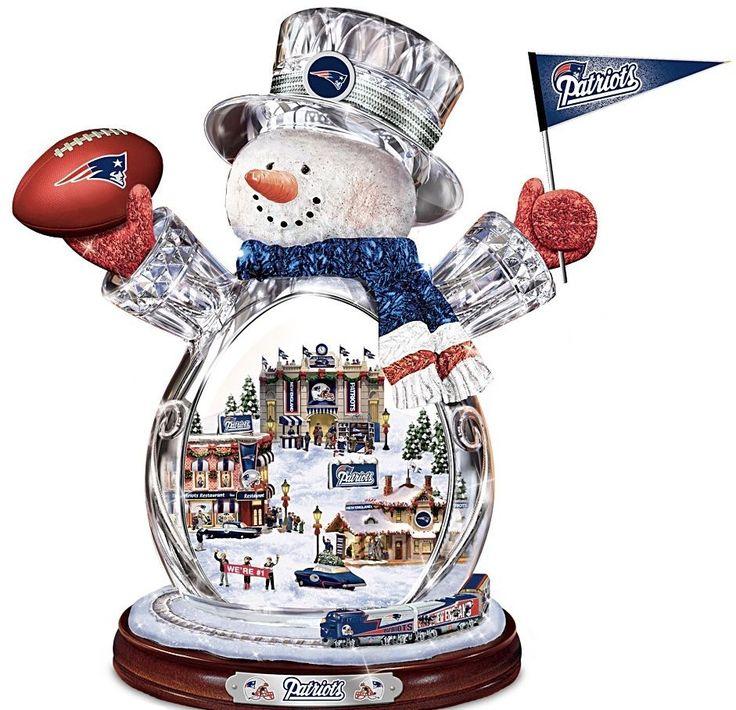 Thomas Kinkade Bradford Editions New England Patriots Crystal Snowman Train #NFL #Patriots