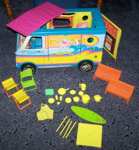 Vintage 1970s Mattel Barbie Beach Bus Lots of Accessories Surfer camper Home | eBay