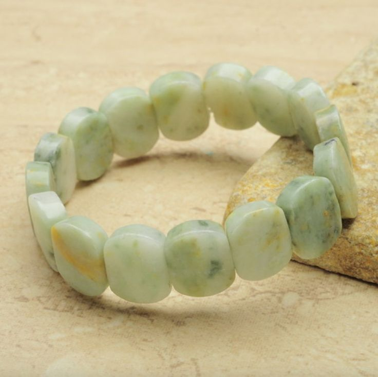2 Tones: Real Natural Apple Green and Pale GREEN JADE High-Polished Gemstones, Stretchy Gracious Bracelets. by AmeogemJewellery on Etsy