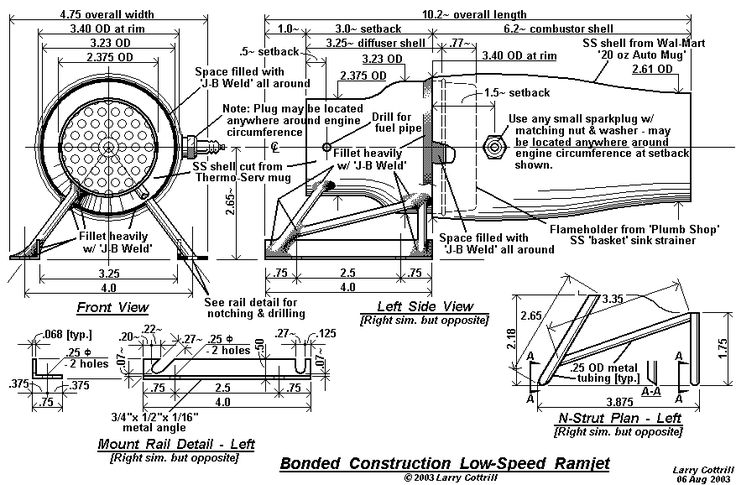 Scale drawing for 'Maggie Muggs', an experimental low-speed ramjet engine (c) 2003 Larry Cottrill