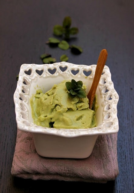 Avocado and mint ice-cream - no ice cream maker required!