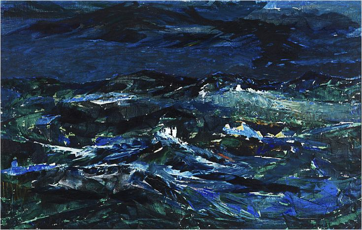 Havet, olja på duk, sign. 1962, 65x100 cm.