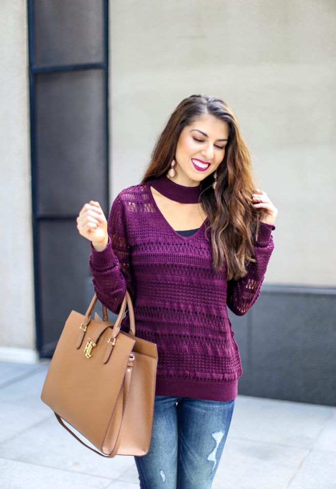 Burgundy V Neck Choker Sweater. Burgundy Fall Tops. Fall Color Tops. Fall Sweaters. New York and Company. Fall Fashion Casual Outfits.