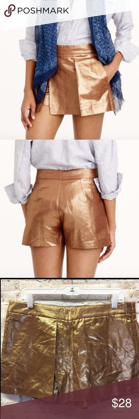 "J. Crew Metallic Gold Crossover Shorts Skort Sz 12 J.CREW WOMENS METALLIC LINEN CROSSOVER SHORTS SKORT GOLD TOBACCO   Size 12 Inseam: 3"" Length top to bottom: 13"" Length across waist: 18"" 2 front pockets!  Zipper on left side! In excellent condition, no tears or rips! Comes from smoke free home! J. Crew Shorts Skorts"