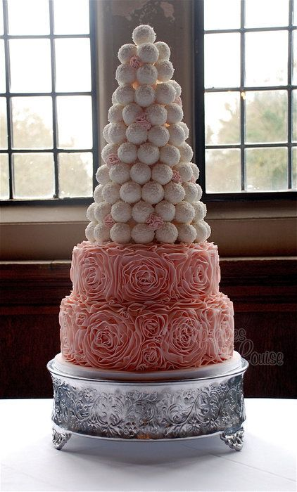 Ruffle cake with tower of cake balls | Cakes | Pinterest