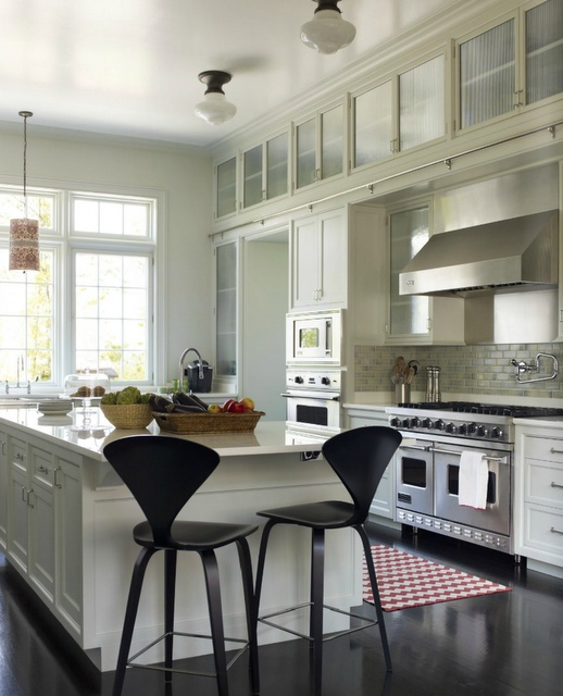 I Love White Kitchens! Love How The Cabinets Go All The Way Up To That Tall Ceiling!