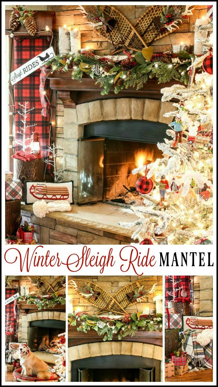 Country christmas mantel decor - Sleigh Ride Christmas Mantel