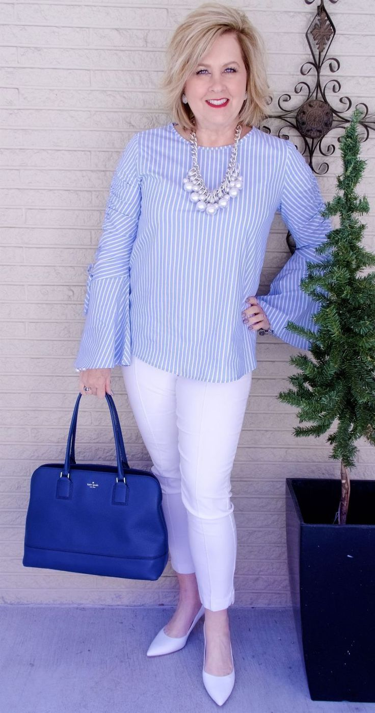 50 IS NOT OLD   STRIPES FOR SPRING   FASHION OVER 40   Spring Trends   Blue and White   Fashion over 40 for the everyday woman #women'sfashionforover50 #women'sfashionover50 #women'sfashionover40